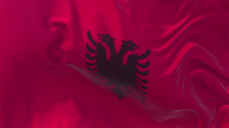 nejlon : Albania Flag in Slow Motion Smooth blowing in wind seamless loop Background