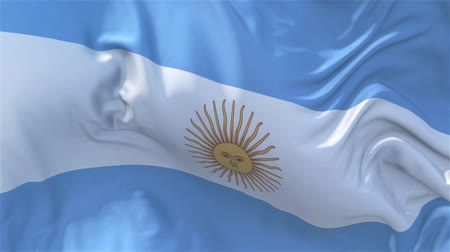 nejlon : Argentina Flag in Slow Motion Smooth blowing in wind seamless loop Background
