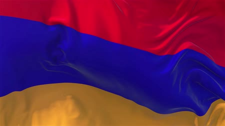 alegori : Armenia Flag in Slow Motion Smooth blowing in wind seamless loop Background Stok Video
