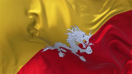 bhutan : Bhutan Flag in Slow Motion Smooth blowing in wind seamless loop Background