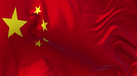 nejlon : China Flag in Slow Motion Smooth blowing in wind seamless loop Background Stock mozgókép