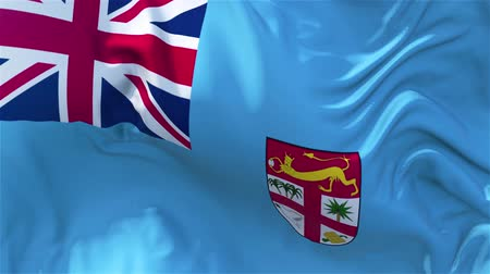 nejlon : Fiji Flag in Slow Motion Smooth blowing in wind seamless loop Background Stock mozgókép