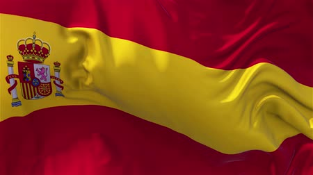 folyamatos : Spain Flag in Slow Motion Smooth blowing in wind seamless loop Background