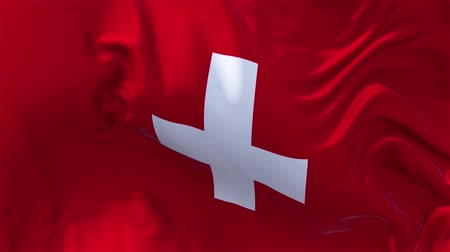 nejlon : Switzerland Flag in Slow Motion Smooth blowing in wind seamless loop Background Stock mozgókép