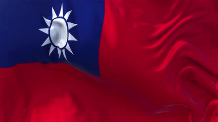 white cloths : Taiwan Flag in Slow Motion Smooth blowing in wind seamless loop Background Stock Footage