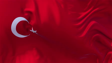 şaft : Turkey  Flag in Slow Motion Smooth blowing in wind seamless loop Background