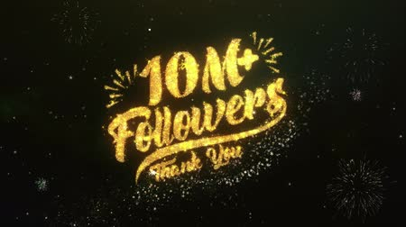 abbonamento : 10M + Follower Testo Saluto Auguri Sparklers Particles Dark Night Sky Fuochi d'artificio
