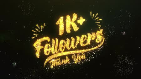 obrigado : 1K+ Followers Text Greeting Wishes Sparklers Particles Dark Night Sky Firework