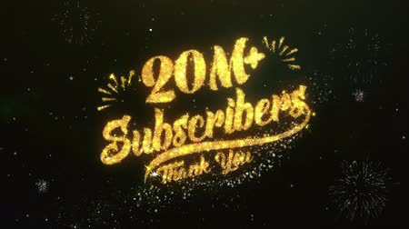 subscribers : 20M+ Subscribers Text Greeting Wishes Sparklers Particles Night Sky Firework
