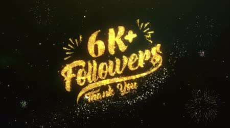 pollice su : 6K + Follower Testo Saluto Auguri Sparklers Particles Night Sky Fuochi d'artificio Filmati Stock