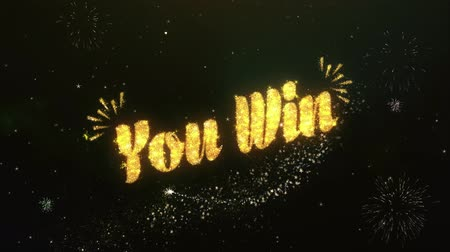 you win : You Win Greeting and Wishes Made from Sparklers Particles Firework sky night. Stock Footage