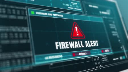 roubo : Firewall Alert Warning System Security Alert error message on Computer Screen. Stock Footage