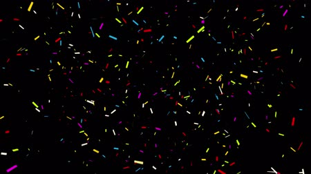 gunshot : 4k Bottom_Center_Rectangle Realistic Multicolored Confetti Multi Shape Gunshot Popper Explosions Shooting Falling blackgreen background. Wedding, Birthday, Celebration, Carnival, Party or Holiday