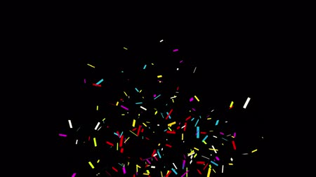 gunshot : 4k Gunshot_Individual_Middle_Left_Line_Line. Realistic Multicolored Confetti Multi Shape Gunshot Popper Explosions Shooting Falling blackgreen background. Wedding, Birthday, Celebration, Carnival, Party or Holiday