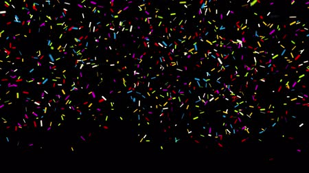 firecracker : Groundshot_Four_Multi_shape_line 4k Realistic Multicolored Confetti Multi Shape Gunshot Popper Explosions Shooting Falling blackgreen background. Wedding, Birthday, Celebration, Carnival, Party or Holiday Stock Footage