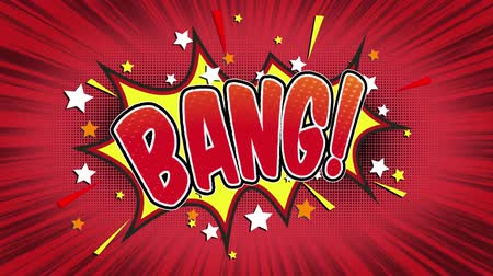 blasting : Bang Word Retro Cartoon Comic Bubbles Popup Style Expressions Colored Bomb and Smoke Strip Dotted and red Speed Radial line Seamless loop Animation black  green screen 4k doodle background Stock Footage
