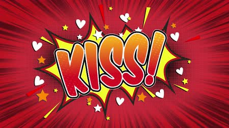 Речь воздушный шар : Kiss Word Retro Cartoon Comic Bubbles Popup Style Expressions Colored Bomb and Smoke Strip Dotted and red Speed Radial line Seamless loop Animation black  green screen 4k doodle background.