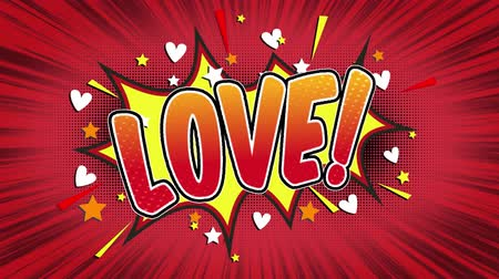 Речь воздушный шар : love Word Retro Cartoon Comic Bubbles Popup Style Expressions Colored Bomb and Smoke Strip Dotted and red Speed Radial line Seamless loop Animation black  green screen 4k doodle background Стоковые видеозаписи