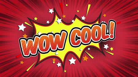 blasting : woow Word Retro Cartoon Comic Bubbles Popup Style Expressions Colored Bomb and Smoke Strip Dotted and red Speed Radial line Seamless loop Animation black  green screen 4k doodle background.