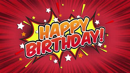 doğum günü : Happy Birthday Word Retro Cartoon Comic Bubbles Seamless loop ( green Screen )