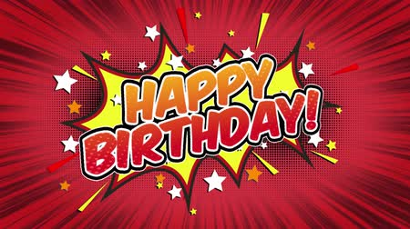 vázlat : Happy Birthday Word Retro Cartoon Comic Bubbles Seamless loop ( green Screen )