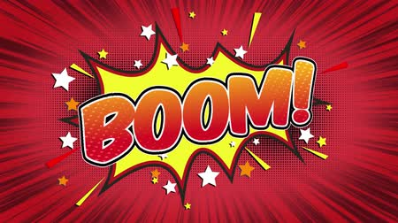blasting : boom Word Retro Cartoon Comic Bubbles Popup Style Expressions Colored Bomb and Smoke Strip Dotted and red Speed Radial line Seamless loop Animation black  green screen 4k doodle background