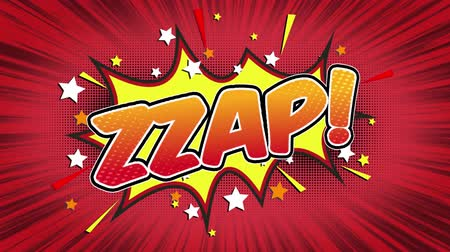 popart : Zzap Word Retro Cartoon Comic Bubbles Seamless loop ( green Screen )