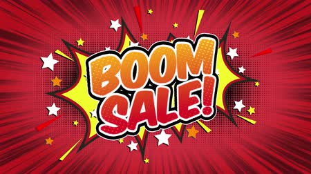 blasting : boom sale Word Retro Cartoon Comic Bubbles Popup Style Expressions Colored Bomb and Smoke Strip Dotted and red Speed Radial line Seamless loop Animation black  green screen 4k doodle background