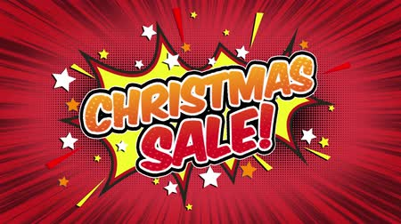 blasting : Christmas Sale Word Retro Cartoon Comic Bubbles Popup Style Expressions Colored Bomb and Smoke Strip Dotted and red Speed Radial line Seamless loop Animation black  green screen doodle background