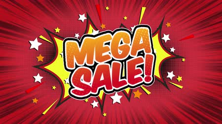 Речь воздушный шар : mega sale Word Retro Cartoon Comic Bubbles Popup Style Expressions Colored Bomb and Smoke Strip Dotted and red Speed Radial line Seamless loop Animation black  green screen 4k doodle background Стоковые видеозаписи