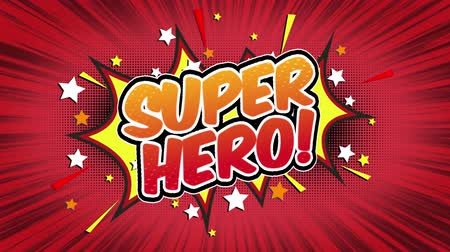 blasting : Super Hero Word Retro Cartoon Comic Bubbles Popup Style Expressions Colored Bomb and Smoke Strip Dotted and red Speed Radial line Seamless loop Animation black  green screen 4k doodle background