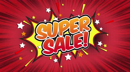 blasting : Super sale Word Retro Cartoon Comic Bubbles Popup Style Expressions Colored Bomb and Smoke Strip Dotted and red Speed Radial line Seamless loop Animation black  green screen 4k doodle background