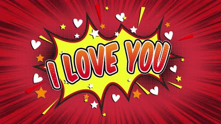 blasting : i love you Word Retro Cartoon Comic Bubbles Popup Style Expressions Colored Bomb and Smoke Strip Dotted and red Speed Radial line Seamless loop Animation black  green screen 4k doodle background