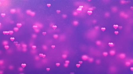 nowożeńcy : Romantic Spinning Dangling Glowing Love Hearts colored Particles Moving Loop Background For Valentines Day, Mothers Day, birthday, Wedding , anniversary , greeting invitation.