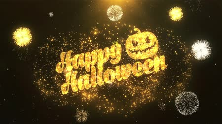 bat : Halloween Greeting Card text Reveal from Golden Firework & Crackers on Glitter Shiny Magic Particles Sparks Night for Celebration, Wishes, Events, Message, holiday, festival Stock Footage