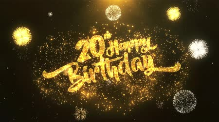 congratulating : 20th Happy birthday Greeting Card text Reveal from Golden Firework & Crackers on Glitter Shiny Magic Particles Sparks Night for Celebration, Wishes, Events, Message, holiday, festival