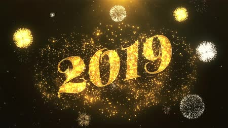 kraker : Happy new year 2019 Greeting Card text Reveal from Golden Firework & Crackers on Glitter Shiny Magic Particles Sparks Night for Celebration, Wishes, Events, Message, holiday, festival Stok Video