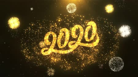 shiny : Happy New Year 2020 Greeting Card text Reveal from Golden Firework & Crackers on Glitter Shiny Magic Particles Sparks Night for Celebration, Wishes, Events, Message, holiday, festival