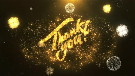 obrigado : Thank You Greeting Card text Reveal from Golden Firework & Crackers on Glitter Shiny Magic Particles Sparks Night for Celebration, Wishes, Events, Message, holiday, festival
