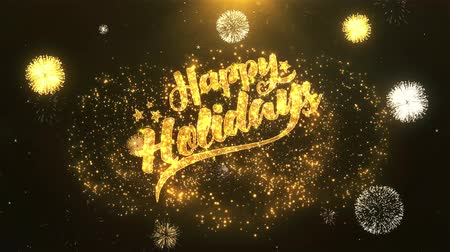 krakov : Happy Holiday Happy Holiday  Greeting Card text Reveal from Golden Firework & Crackers on Glitter Shiny Magic Particles Sparks Night for Celebration, Wishes, Events, Message, holiday, festival