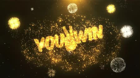 you win : You win Greeting Card text Reveal from Golden Firework & Crackers on Glitter Shiny Magic Particles Sparks Night for Celebration, Wishes, Events, Message, holiday, festival Stock Footage