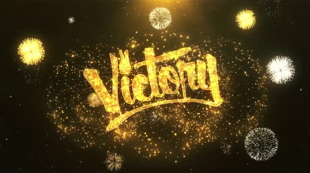 преуспевать : Victory Greeting Card text Reveal from Golden Firework & Crackers on Glitter Shiny Magic Particles Sparks Night for Celebration, Wishes, Events, Message, holiday, festival