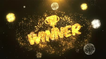 eredmény : winner Greeting Card text Reveal from Golden Firework & Crackers on Glitter Shiny Magic Particles Sparks Night for Celebration, Wishes, Events, Message, holiday, festival