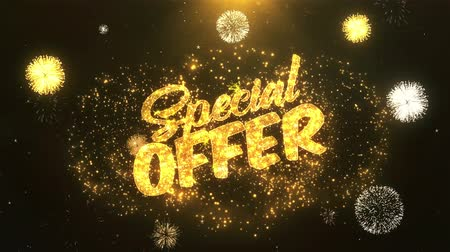 для продажи : special offer Greeting Card text Reveal from Golden Firework & Crackers on Glitter Shiny Magic Particles Sparks Night for Celebration, Wishes, Events, Message, holiday, festival