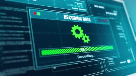 указывать : Decoding Data Progress Warning Message Data Decoded Alert  on Screen , Computer Screen Entering System Login And Password Logging into Showing progress granted System Security.