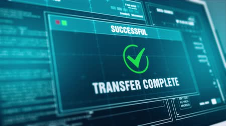completo : Data transfer Progress Warning Message transfer Complete Alert on Screen , Computer Screen Entering System Login And Password Logging into Showing progress granted System Security. Stock Footage