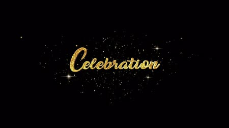 příležitost : Celebration Beautiful golden greeting Text Appearance from blinking particles with golden fireworks background.