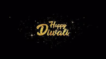 ganesha : Happy Diwali Beautiful golden greeting Text Appearance from blinking particles with golden fireworks background. Stock Footage