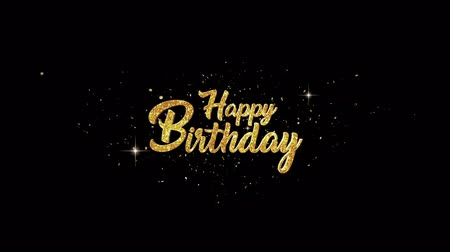 queda : Happy Birthday Beautiful golden greeting Text Appearance from blinking particles with golden fireworks background. Vídeos