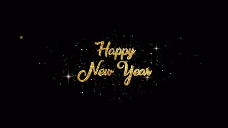 firework display : Happy New Year Beautiful golden greeting Text Appearance from blinking particles with golden fireworks background. Stock Footage